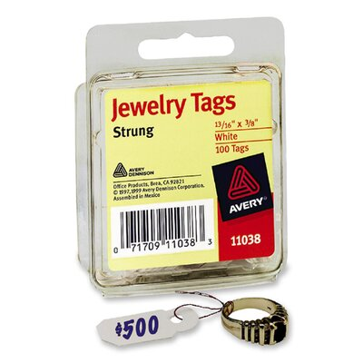 Avery Consumer Products Jewelry Tags, Paper, 1-3/16 x 3/8, White, 100/Pack
