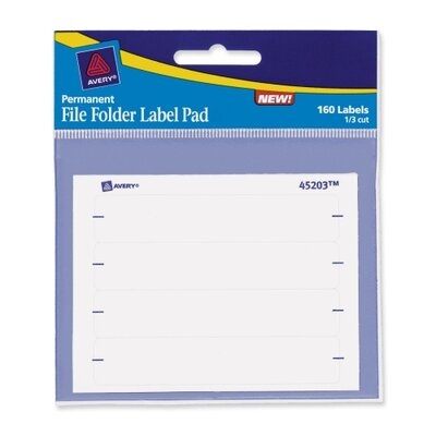 "Avery Consumer Products File Folder Label Pad,1/3 Cut,2/3""x3-7/16"",160 Labels per Pack, White"