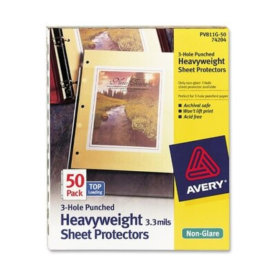 Avery Consumer Products Top-Load Poly Three-Hole Sheet Protectors, Non-Glare, Letter, 50/Box