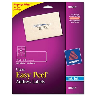 Avery Consumer Products Easy Peel Mailing Labels for Inkjet Printers, 140/Pack