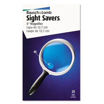 """Bausch & Lomb 2X - 4X Round Handheld Magnifier with 5"""" Diameter Acrylic Lens"""