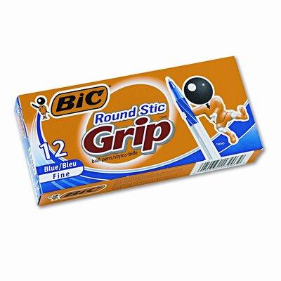 Bic Corporation Round Stic Grip Ballpoint Stick Pen, 12/Pack