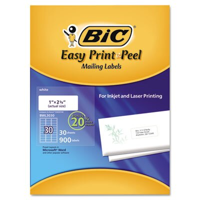 Bic Corporation Easy Print & Peel White Mailing Labels (900/Pack)