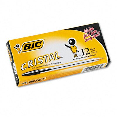 Bic Corporation Medium Cristal Ballpoint Stick Pen, 12/Pack