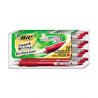 Bic Corporation Medium Velocity Ballpoint Retractable Pen, 12/Pack