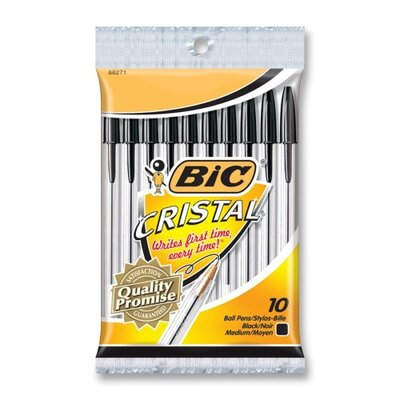 Bic Corporation Stic Ballpoint Pen,Bold Point,10/PK,Black Ink/Clear Barrel