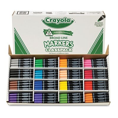 Crayola LLC Non-Washable Classpack Broad Point Markers (16 Assorted Colors, 256/Box)