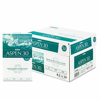 Boise® Aspen 30% Recycled Office Paper, 92 Bright, 20 Lb, 8-1/2 X 14, 5000/Carton