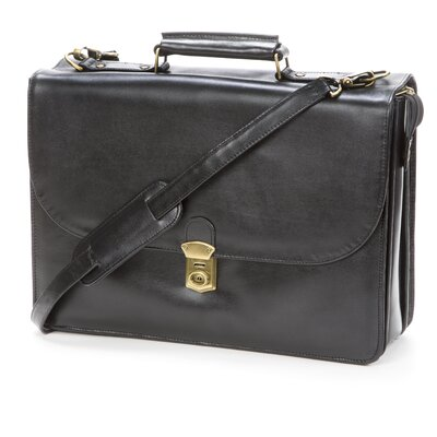 Bond Street, LTD. Key Locking Leather Flap-Over Executive Case with Laptop Slot