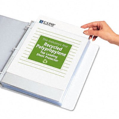 C-Line Products, Inc. Reduced Glare Recycled Polypropylene Sheet Protector(100/Box)