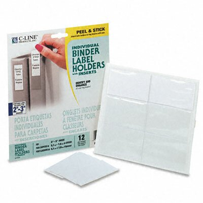 C-Line Products, Inc. Self-Adhesive Ring Binder Label Holders, 1-3/4 X 3-1/4 (12/Pack)