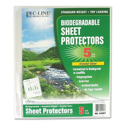 "C-Line Products, Inc. Sheet Protector, Biodegradable, 8-1/2""x11"", 24 per Pack, Clear"