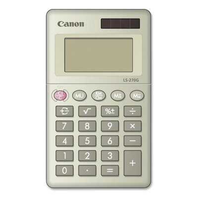 "Canon 8-Digit Handheld Calculator, Dual PoWhiter, 2-3/8""x4""x3/8"", Black"