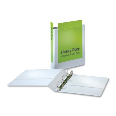"Cardinal Brands, Inc Heavy-Duty Round-Ring Vue Binders, Heavy-Duty, 1-1/2"" Capacity, White"