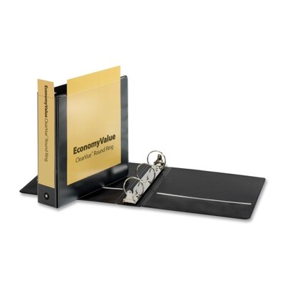 "Cardinal Brands, Inc EconomyValue ClearVue Round-Ring Binders, Non-locking, 2"" Capacity, Black"