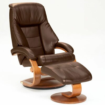 Mac Motion Oslo 58 Leather Ergonomic  Recliner and Ottoman