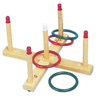 Champion Sports Plastic/Wood Ring Toss Set, 4 Rings/5 Pegs/Set