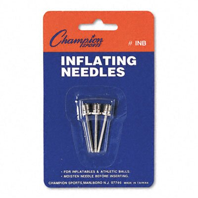 CHAMPION SPORT Nickel-Plated Inflating Needles for Electric Inflating Pump, 3 Needles/Pack