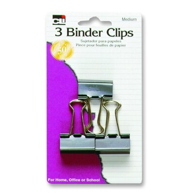 "Charles Leonard Co. Binder Clips, Medium, 1-1/4"", 3/PK, Black/Steel"