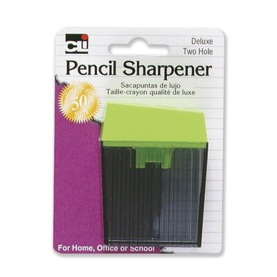 Charles Leonard Co. Pencil Sharpener,w/ Receptacle, 2-Hole, Assorted