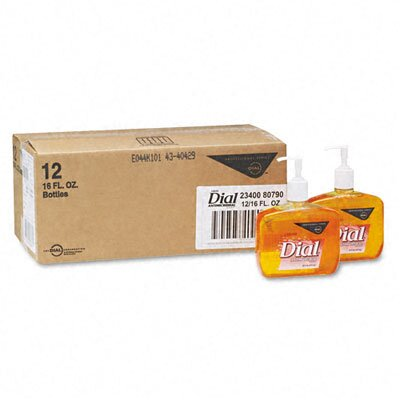 Dial® Complete® Liquid Gold Antimicrobial Soap, Unscented Liquid, 16oz Pump Bottle, 12/ctn