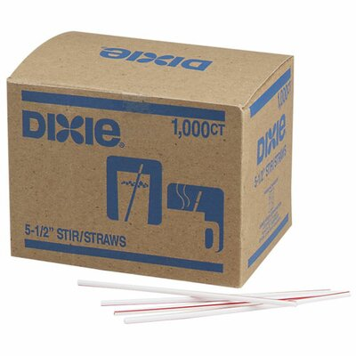 "Dixie Stir Sticks, Plastic, 5-1/2"", 1000 per Box, White w/ Red Stripes"