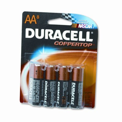 Duracell Coppertop Alkaline Batteries, AA, 8/pack