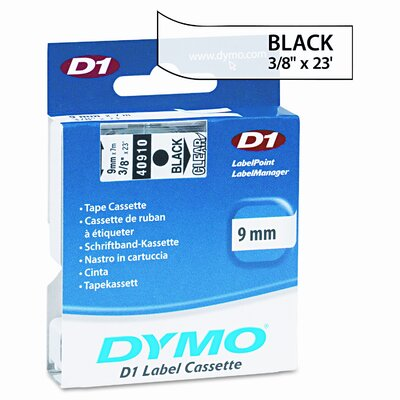 """Dymo Corporation D1 Standard Tape Cartridge for Label Makers, 0.37"""" x 23'"""