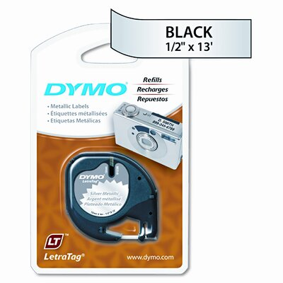 Dymo Corporation Letratag Tape Cartridge, 1/2in x13ft, Silver Metallic