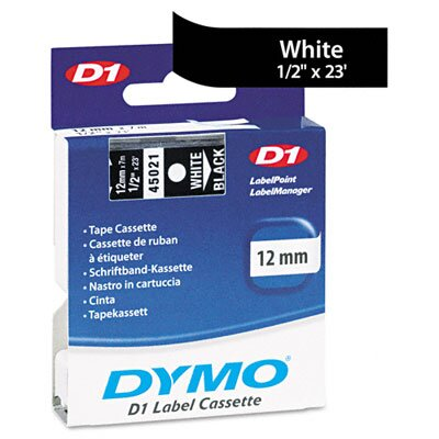 "Dymo Corporation D1 Standard Tape Cartridge for Label Makers, 0.5"" x 23'"
