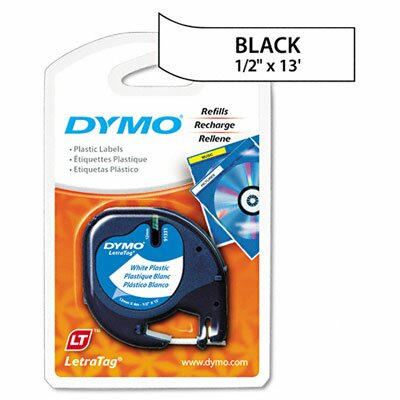 "Dymo Corporation Letratag Plastic Label Tape Cassette, 0.5"" x 13'"