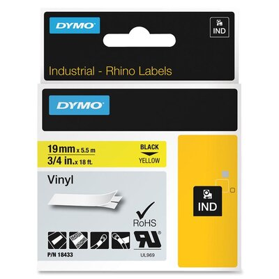 Dymo Corporation Black/Yellow Rhino Labels