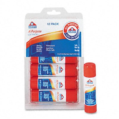 Elmer's Products Inc All-Purpose, Permanent Glue Sticks, 12/Pack