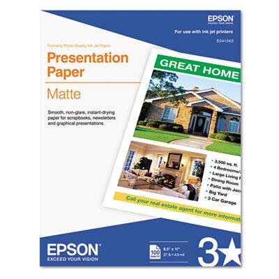 Epson America Inc. S041062 Matte Presentation Paper, 27 Lbs., 8-1/2 X 11, 100 Sheets/Pack