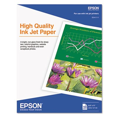Epson America Inc. Matte High Quality Inkjet Paper, 100 Sheets/Pack