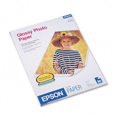 Epson America Inc. Glossy Photo Paper, 8-1/2 x 11, 20 Sheets per Pack