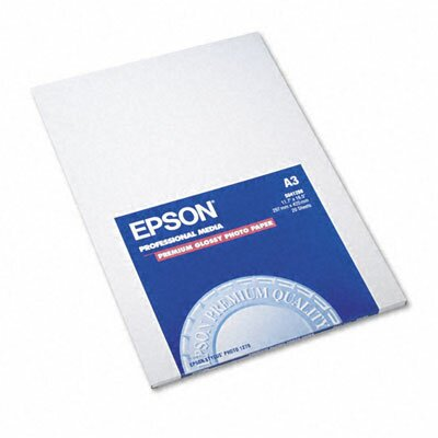 Epson America Inc. Premium Photo Paper, 68 Lbs., 11-3/4 X 16-1/2, 20 Sheets/Pack