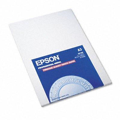 Epson America Inc. 041288 Premium Photo Paper, 68 Lbs., 11-3/4 X 16-1/2, 20 Sheets/Pack