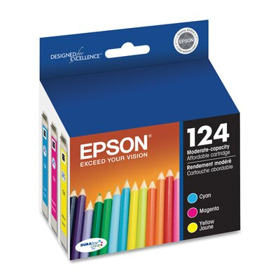 Epson America Inc. T124520 (124) Moderate Capacity Ink, 3/Pack