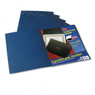 Esselte Pendaflex Corporation Certificate Holder, 80lb Linen Stock, 12 1/2 x 9 3/4, Dark Blue, Five per Pack