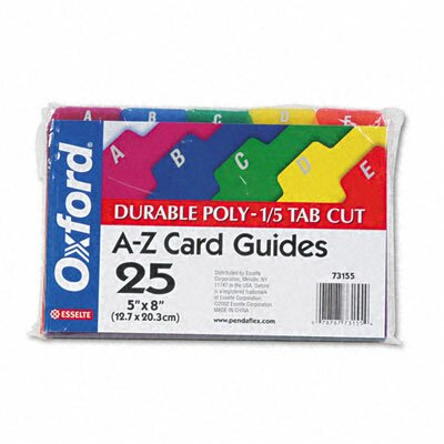 Esselte Pendaflex Corporation Oxford Card Guides, Alpha, 1/5 Tab, Polypropylene, 5 X 8 (Set of 25)