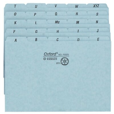 "Esselte Pendaflex Corporation Self-Tab Card Guides,Pressboard,A-Z,25 PT,8""x5"",100/BX,BE"