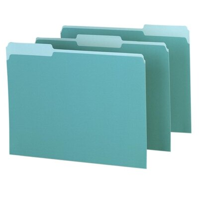 Esselte Pendaflex Corporation Interior Folder, 1/3 Tab Cut, Letter, Aqua