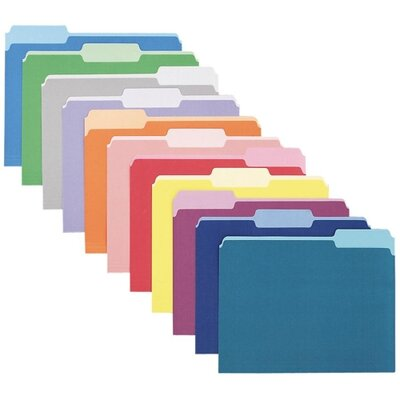 Esselte Pendaflex Corporation Two-Tone File Folder, 1/3 Top Tab, Letter, 100/Box