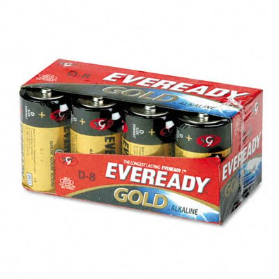 Energizer® Eveready Gold Alkaline Batteries, D, 8 Batteries/Pack