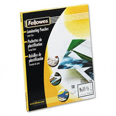 Fellowes Mfg. Co. 52454 Clear Laminating Pouches, 3 Mil, 100/Pack