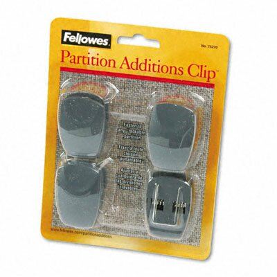 Fellowes Mfg. Co. Plastic Partition Additions Clips, 4/Pack