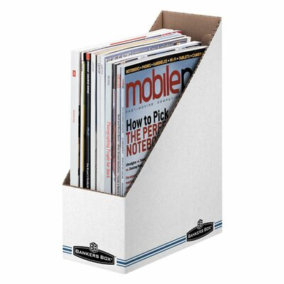 "Fellowes Mfg. Co. Economy/Storage Magazine File, 3-7/8""x9-1/4""x11-3/4"", WhiteBlue"