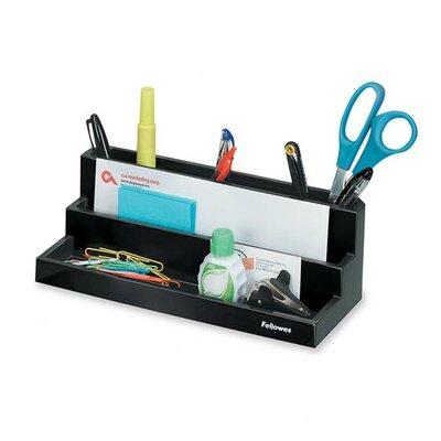 "Fellowes Mfg. Co. Organizer, w/Compartmentss, 11-1/4""x5""x3-7/8"", Black"