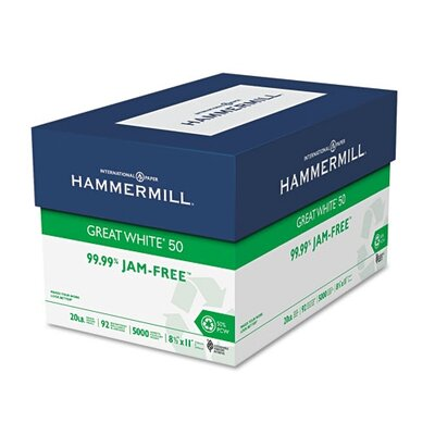 Hammermill Great White 50 Recycled Copy Paper, 20-Lb., 5000/Carton